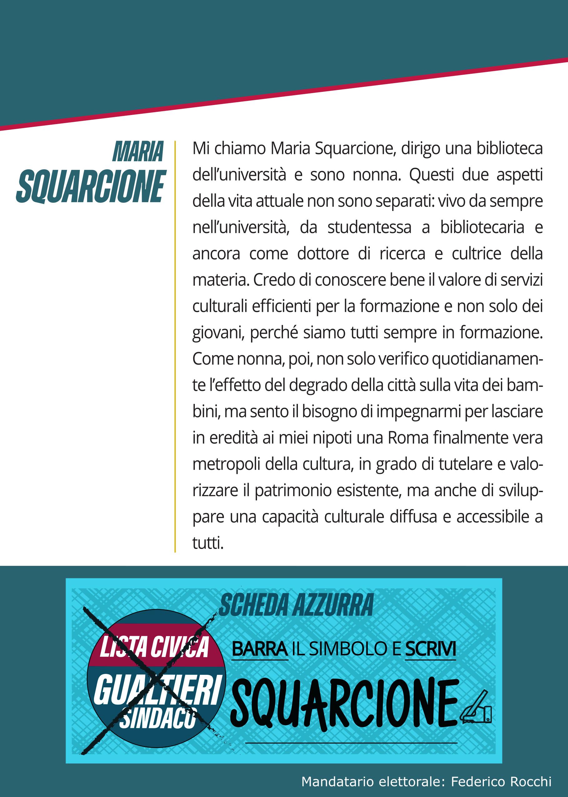 Cartolina Maria Squarcione elezioni Comune Roma 2021